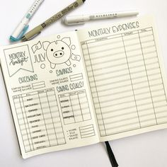 bullet journal finance tracker | budget tracer | checking savings tracker | expense tracker | monthly expense log | piggy bank | money | minimalist spread