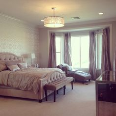 Allison Lambert puts the finishing touches on her chic bedroom with Z Gallerie's Nicolette Bed, Chambers Chaise, Lola Bench and more!