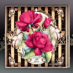 Red Pink Roses for All Occasions Card Mini Kit: 4 sheets for print with decoupage for 3D effect plus few sentiment tags (for your own personal text)