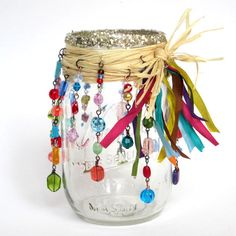 Mason Jar Luminary Beaded Candle Luminary Bohemian Hippie Candle Holder Multicolor Glass Beads