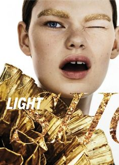 BEAUTY EDITORIAL METALLIC SPRING TREND MARIE CLAIRE MAGAZINE LIGHT SHOW Model: Kelly Mittendorf  Photographer: Markus Pritzi  Styled by: Lot...