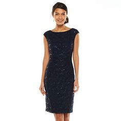 Chaps Pleated Lace Sheath Dress - Women's