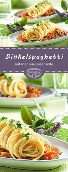 Dinkelspaghetti mit Möhren-Linsensoße: Veganes Nudelgericht mit Möhren und Tellerlinsen in Rotwein gegart - vegan, vegetarisch, lactosefrei