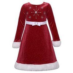 Girls Red Glitter Velvet Snowflake Christmas Dress