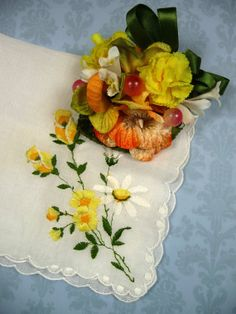 Vintage Embroidered Hankie and Mini Corsage Gift Set by meaicp, $15.00