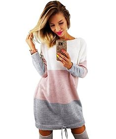 Aitos Pull Robe Femme Hiver Chaud Robe Manches Longues Sweater Casual Pulls  Mini Robes Rose L b9753c9779c8