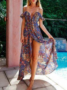 3aff7dc86110 Blue Floral Print Cold Shoulder Plungy Neck Maxi Dress