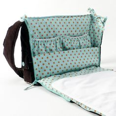 This baby changing bag is for dotty-fans! The 'Dotty Day' baby changing bag is a real eye-catcher, especially when it is zipped open. The outer fabric- note detachable mat Diy Bag Organiser, Diaper Bag Patterns, Baby Dumbo, Baby Girl Items, Baby Diy Projects, Baby Changing Bags, Handmade Baby, Baby Sewing, Baby Accessories
