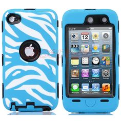 Black 3 in 1 Zebra High impact Hard Rubber Case For iPod Touch 4 4th Blue+Stylus $7.99
