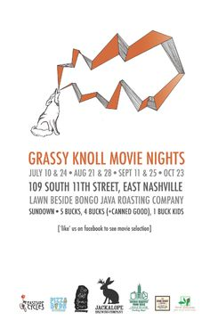 Grassy Knoll Movie Nights in East Nashville. Check out their website for showing dates!