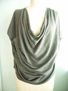 Drape drape 2 no.8 two-pattern gather drape blouse