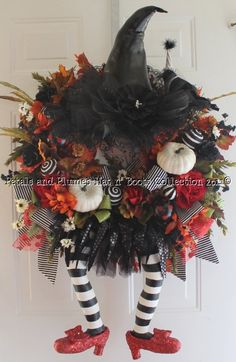 """Halloween Wreath -Wicked Witch w/ Love this! Ruby Red Slippers - """"Halloween Hat n' Boots Collection"""" halloween-wreath-fall-thanksgiving-wreaths-and-dec Halloween Witch Wreath, Halloween Hats, Holidays Halloween, Halloween Decorations, Christmas Decorations, Halloween Clothes, Halloween Banner, Fall Crafts, Holiday Crafts"""