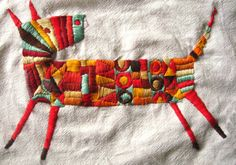 Bordado / hand embroidery love the bright colours and outsider style Modern Embroidery, Embroidery Applique, Cross Stitch Embroidery, Embroidery Patterns, Bordados E Cia, Embroidery Needles, Fabric Art, Textile Art, Handicraft