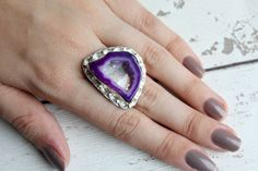 Purple agate druzy ring with a 925 silver overlaysize P