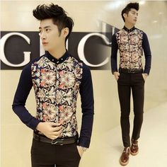 Find More Casual Shirts Information about Wholesale Aliexpress Retail Vintage Floral Print Fashion Cool Men's Slim Fit Work Office Dress Shirt Drop Shipping,High Quality dress shirt fashion,China dres. Korean Fashion Men, Mens Fashion, African Shirts For Men, Button Down Collar Shirts, Formal Shirts For Men, Spring Shirts, Spring Outfits, Vintage Floral, Dress Shirt