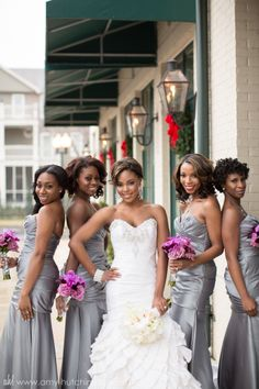 Could this group of bridesmaids get any lovelier?!  // Glamor and glitz, the perfect wedding theme for a New Year's Eve wedding.  Lauren + Anthony: Joined. A New Year's Eve Wedding. Memphis Wedding Photography by Amy Hutchinson Photography. Venue: St. Peter Catholic Church in Downtown Memphis and the Cannon Center for the Performing Arts. Floral: Tulip Design Studio. Event planning: Andria Lewis Events. Cake: Cakes by Mom and Me.