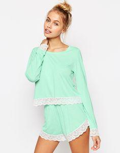 Image 1 of ASOS Lace Trim Long Sleeve Tee & Short Pyjama Set