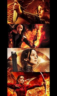 Katniss Everdeen. The Hunger Games, Catching Fire, Mockingjay part 1, and Mockingjay part 2