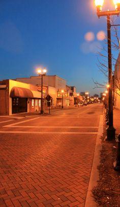 Main Street after sunset, Dallas, GA