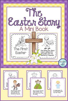 This printable mini book is a perfect activity for Christian kids to help them focus on Jesus this Easter. The Holy Week events included are Palm Sunday, Holy Thursday and Good Friday. This can be used during Lent. Easter Story For Kids, Easter Activities For Kids, Easter Crafts For Kids, Easter Story For Preschoolers, Easter Jesus Crafts, Good Friday Crafts, Sunday School Crafts, Palm Sunday Craft, Catholic Easter