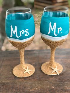 042d9dfaddc Personalized Destination wedding gift Beach wedding gift Destination  wedding Mr and Mrs glasses Sandy toes Salty kisses Beach wine glasses