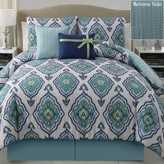 Weston Blue Ikat 5 pc Comforter Bed Set