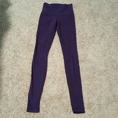 Purple lululemon cotton wunderunder size 4 I love this pant and thought I could make the size 4 work. Only worn a few times. More of a cotton material and soooo soft Higher waist Lululemon logo on calf Very light wash wear, but always washed on the delicate cycle and line dried lululemon athletica Pants Leggings