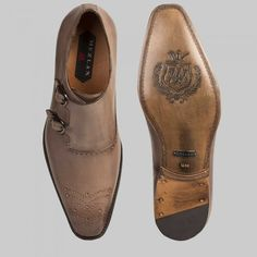 62fab983d3 Mezlan Gris Mens Shoes Taupe Burnished Italian Calfskin Loafers (MZW2811)