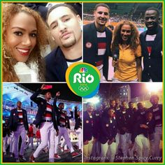 More Klay and Dray with Warriors sports reporter Ros Gold-Onwude and the rest of Team USA at the Rio Olympics opening ceremonies ... The games are finally here! @klaythompson @money23green @rosgo21 @easymoneysniper @usabasketball @olympics2016_rio