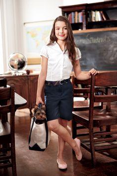 She'll ace style in twill Bermuda #shorts. #backtoschool #schooluniform #Kohls