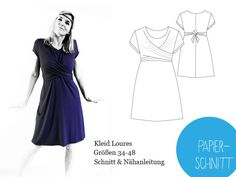 **Kleid Loures ist ein raffiniertes Wickelkleid mit toller Optik**    Größe 34-48     Kleid Loures ist ein schickes Kleid mit einer coolen Überkreuzung im Vorderteil. Das Kleid ist ein echter...