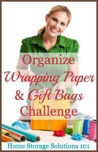 How To Organize Wrapping Paper & Gift Bags Challenge {Part of the 52 Week Organized Home Challenge on Home Storage Solutions 101}