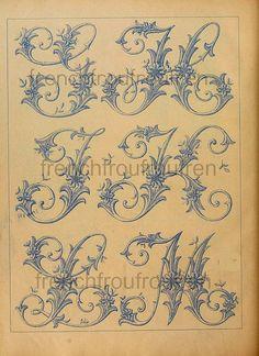 komplette antike französische viktorianischen Alphabet Muster