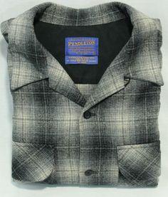 Pendleton Flannel Shirt Size M Black Gray Checked Plaid 100% Pure Virgin Wool
