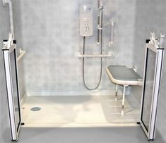 Roll-in shower, shower seat, and grab bars!