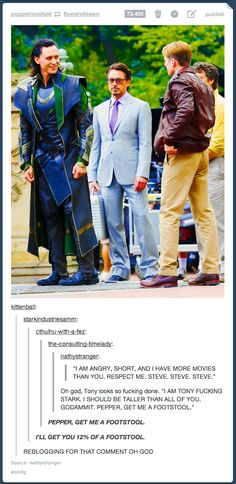This made me laugh even though RDJ and Mark Ruffalo are clearly further back in the picture. The comments are priceless.