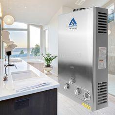 (Kapal dari Jerman) 12 Liter Gas Instan Boiler Stainless Steel LCD Display Pemanas Air Tankless LPG Propan w/Shower Kepala