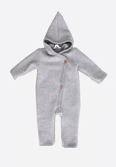 Grey Woolly Fleece Suit With Hood