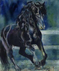 Friesian black horse art print from Watercolor by rachelsstudio - Friesian Gallop