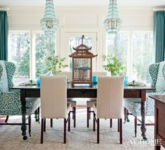 Love the mix of styles and patterns in this dining room and love the color!!! South Shore Decorating Blog: Rooms With Flair!