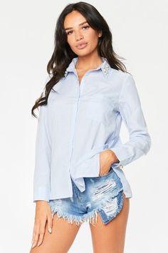 Britney Blue Pearl Detail Shirt