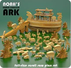 Noah's Ark Wood Toy Scroll Saw Plan Set. minus the rooster head on the ark. I'm thinking home made gift for tyson Woodworking Patterns, Woodworking Crafts, Woodworking Chisels, Wooden Animals, Wooden Toys, Wood Toys Plans, Scroll Saw Patterns, Art Patterns, Animal Crackers