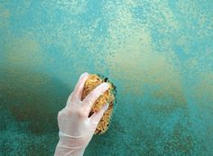 Turquoise & Gold Sponging
