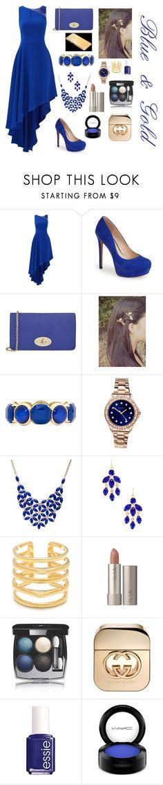 """Blue & Gold"" by samyasabriyya ❤ liked on Polyvore featuring Halston Heritage, Jessica Simpson, Mulberry, Monet, Sekonda, Alexa Starr, Kendra Scott, Stella & Dot, Chanel and Gucci"