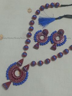 Red and blue terracotta jewelry, Terracotta necklace set, terracotta jewellery, Indian terracotta jewelry, polymer clay jewelry, chand bali by NIRMITY on Etsy