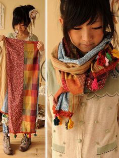DIY scarf. 4 different patterned materials, trimmed with pom poms. Looks darling on!