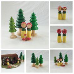 Woodland Mushroom People Set Playscape Peg Doll Pretend Storytelling  by MyBigWorld2015 on Etsy