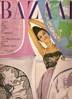 Simone is wearing a dress by Tiktiner, cover photo by Gleb Derujinsky for Harper's Bazaar, June 1959