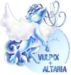 Pokemon Fusion: Vulpix X Altaria Pokemon Fusion Art, Mega Pokemon, Pokemon Pins, Pokemon Memes, Pokemon Fan Art, Cool Pokemon, Pokemon Stuff, Pokemon Cards, Pokemon Original