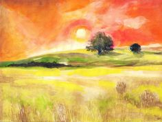 Sunset - Naplemente - aquarelle - 21 cm - by Márta Bolla - Hungary Landscape Photos, Landscape Paintings, Hungary, Watercolor Art, Sunset, Artworks, Artists, Pen And Wash, Sunsets
